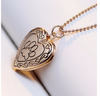 Image of Dog Paw Print Photo Heart Locket Necklace