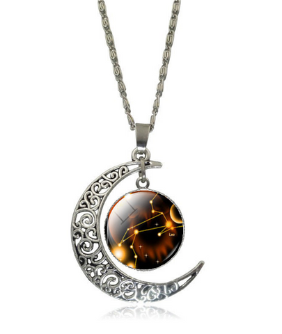 Galaxy Glass Art Moon Necklace