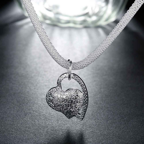 Floating Inlaid Stone Hearts Charms Necklace
