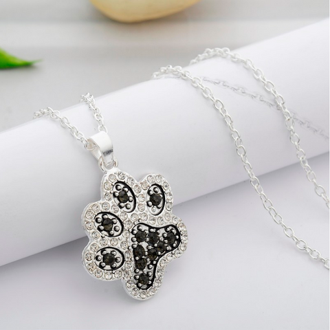 Pet Paw Black White Crystal Rhinestone