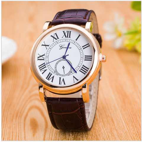 Men's Geneva Rome Dial Quality Quartz Watch Leather Band
