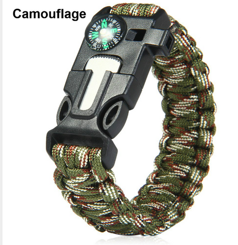 Survival Bracelet Paracord Flint Fire Starter Whistle