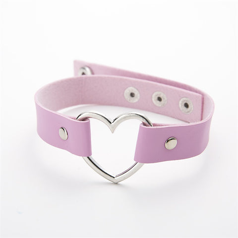 Gothic Leather Heart Punk Studded Choker