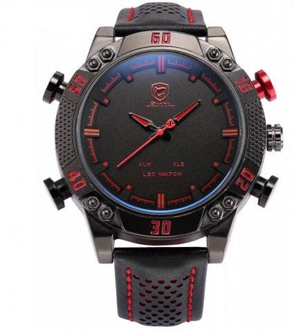 Men's Shark Sport Luxury Black Red Quartz Plus Analog LED Digital Watch
