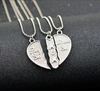 "Image of Engraved ""Big Sis MOM Little Sis"" Love Heart Necklace"