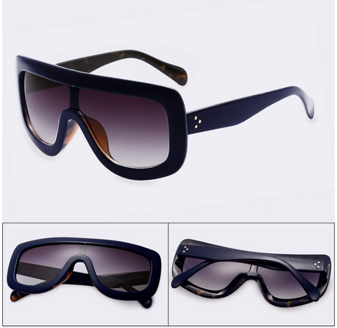 NEW Celebrity Women's Vintage Big Frame Sunglasses With Acetate Shades Gradient UV400