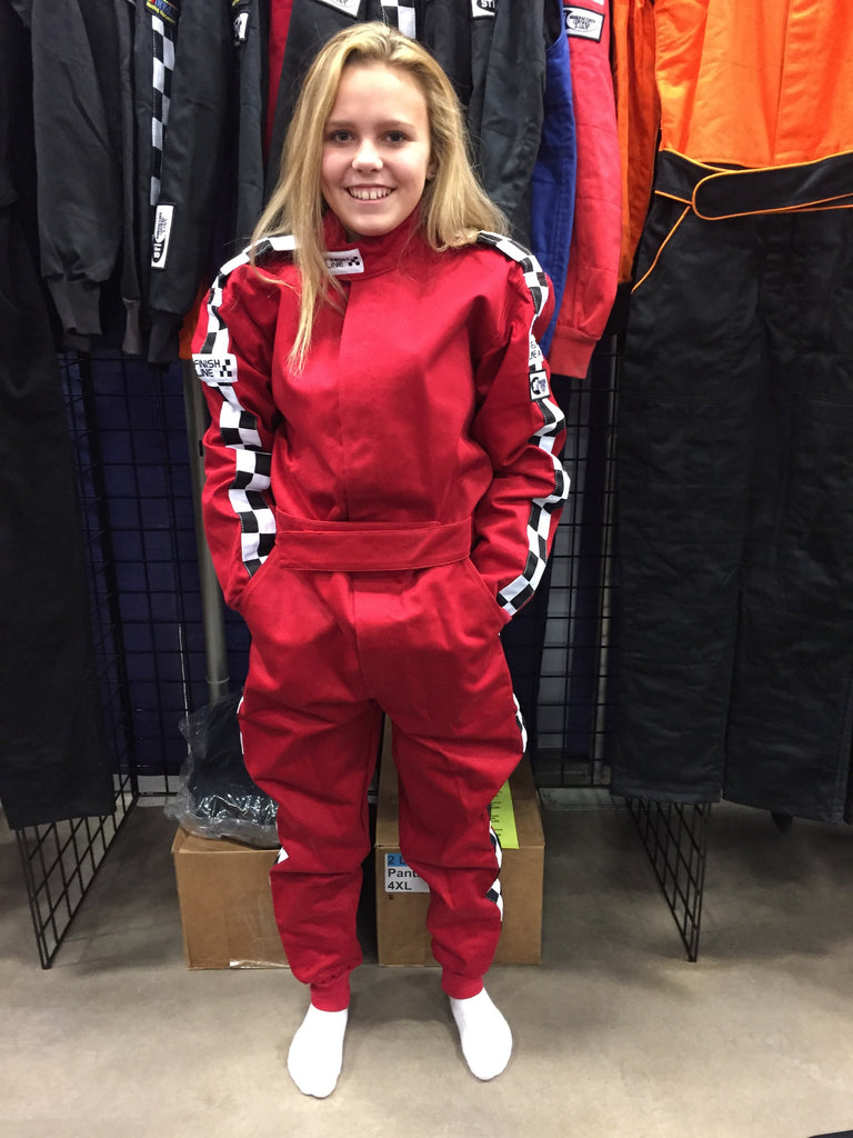 Fire Suit 1-Piece 1 Layer SFI-1 Size (1) Small Red with Checkerboard Stripes Qualifier Racing Suit