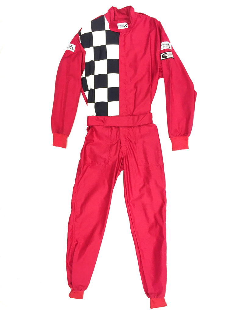 Fire Suit 1-Piece 1 Layer SFI-1 Size (1) Small Red Top & Bottom with Checkerboard FinishLine Racing Suit