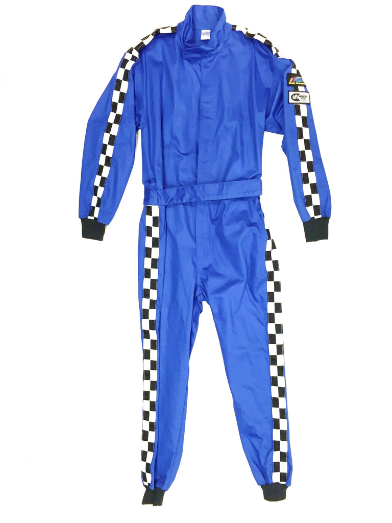 Fire Suit 1-Piece 1 Layer SFI-1 Size (5) 2X-Large Blue & Blue with Checkerboard Stripes Qualifier Racing Suit