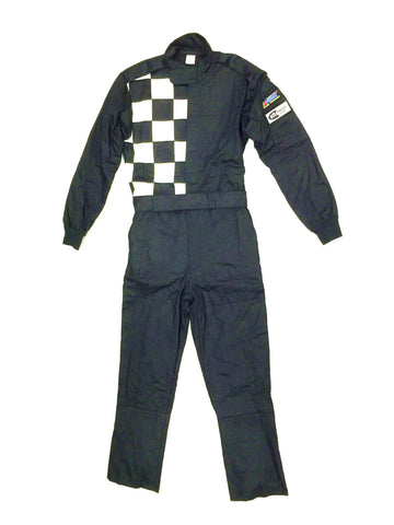 Fire Suit 1-Piece 2 Layer SFI-5 Size Medium Black w/Checkerboard Racing Suit