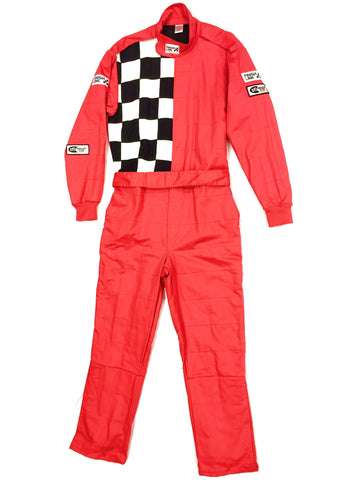 Fire Suit 1-Piece 2 Layer SFI-5 Size (4) X-Large Red with Checkerboard FinishLine Racing Suit