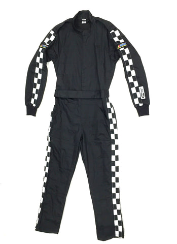 Fire Suit 1-Piece 2 Layer SFI-5 Size Medium Black with Checkerboard Stripes Qualifier Racing Suit