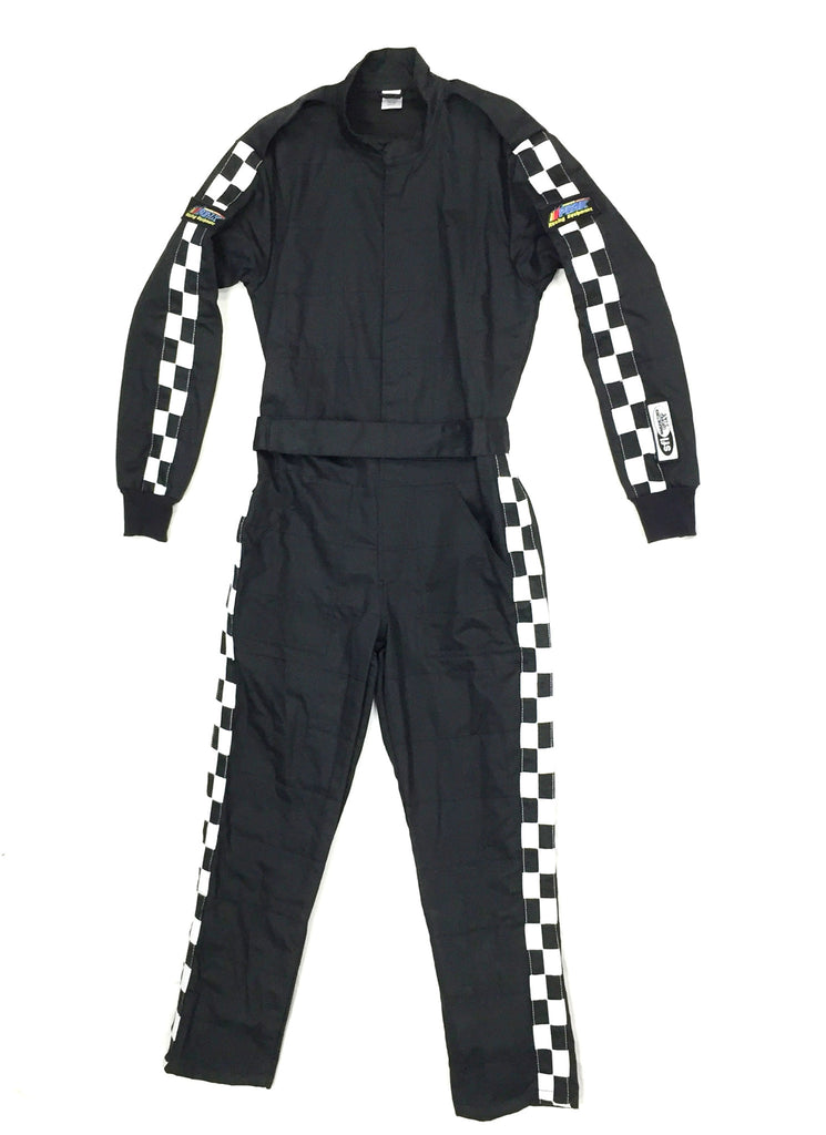 Fire Suit 1-Piece 1 Layer SFI-1 Size (4) X-Large Black with Checkerboard Stripes Qualifier Racing Suit