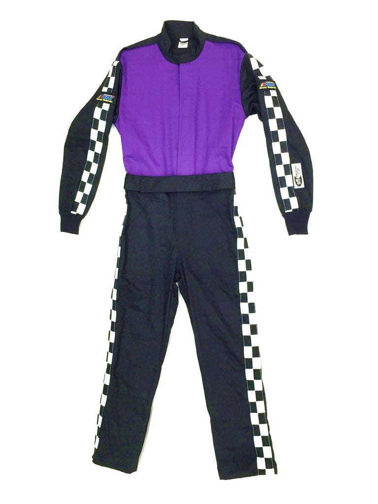 Fire Suit 1-Piece 2 Layer SFI-5 Size (1) Small Purple & Black with Checkerboard Stripes Qualifier Racing Suit