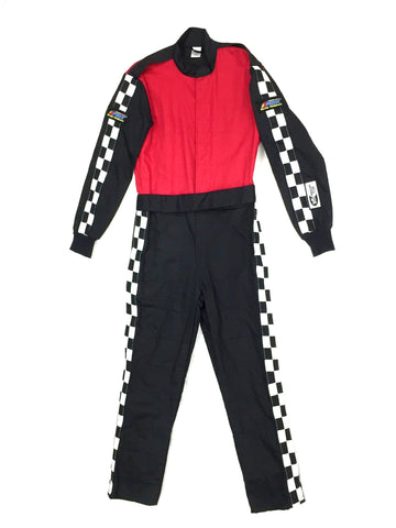 Fire Suit 1-Piece 2 Layer SFI-5 Size Small Red & Black with Checkerboard Stripes Qualifier Racing Suit