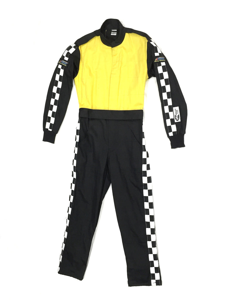 Fire Suit 1-Piece 2 Layer SFI-5 Size Medium Yellow & Black with Checkerboard Stripes Qualifier Racing Suit