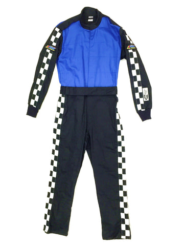 Fire Suit 1-Piece 2 Layer SFI-5 Size (2) Medium Blue & Black with Checkerboard Stripes Qualifier Racing Suit