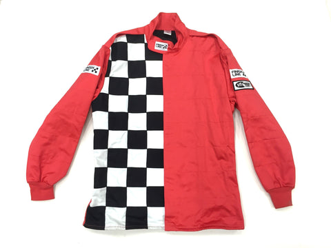 Fire Suit Jacket - 2 Layer SFI-5 Size (3) Large Red with Checkerboard FinishLine