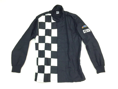 Fire Suit Jacket - 2 Layer SFI-5 Size (3) Large Black Checkerboard FinishLine
