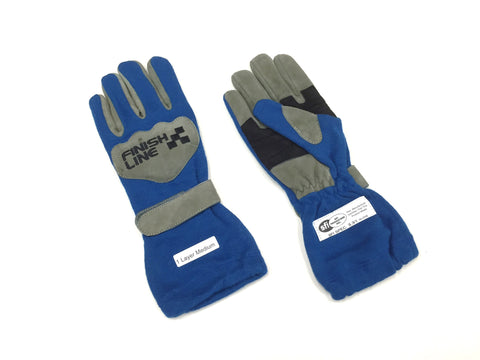 Gloves 1 Layer SFI 3.3/1 Size (2) Medium Blue Racing Gloves FINISHLINE