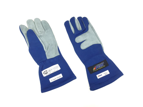 Gloves 2 Layer SFI 3.3/5 Size (1) Small Blue Racing Gloves PEAK 1700 Series