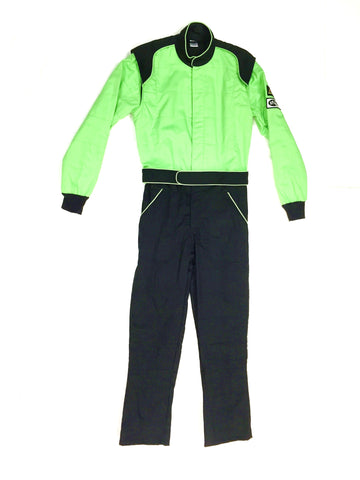 Fire Suit 1-Piece 2 Layer SFI-5 Size (3) Large Green & Black Peak Racing Equipment