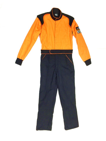 Fire Suit 1-Piece 2 Layer SFI-5 Size (1) Small Orange & Black Peak Racing Equipment