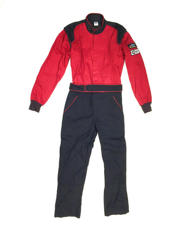 Fire Suit 1-Piece 2 Layer SFI-5 Size Medium Red & Black Peak Racing Equipment