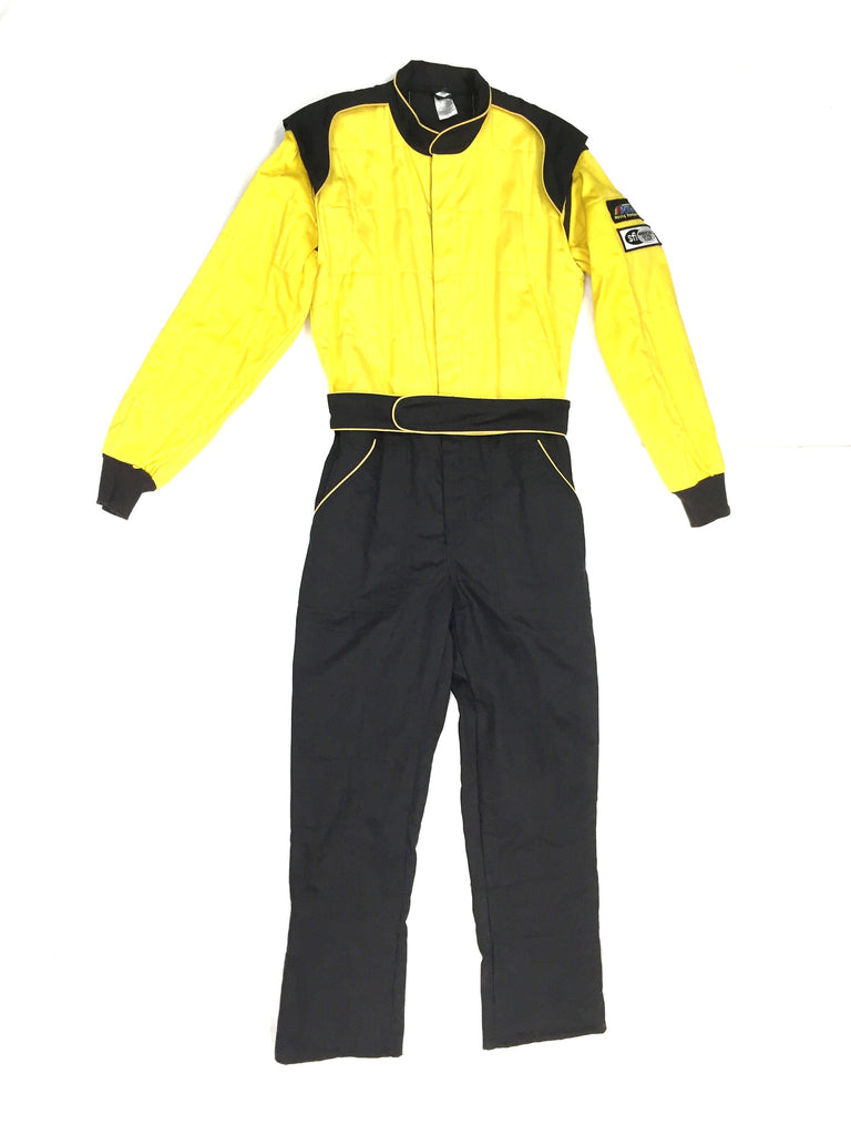Fire Suit 1-Piece 2 Layer SFI-5 Size (1) Small Yellow & Black Peak Racing Equipment