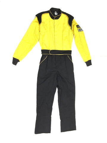 Fire Suit 1-Piece 2 Layer SFI-5 Size Small Yellow & Black Peak Racing Equipment