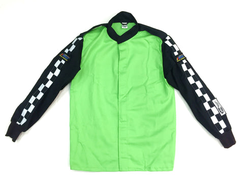 Fire Suit - 1 Layer Jacket Only Size (2) Medium SFI-1 Green & Black Peak Racing Qualifier
