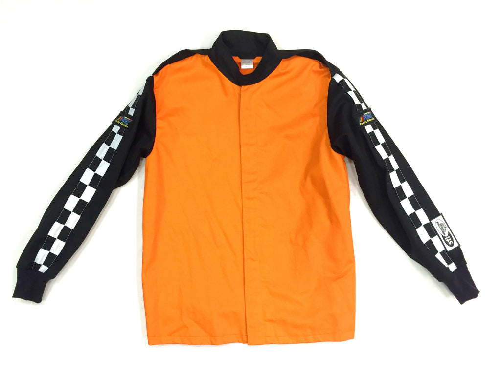 Fire Suit Jacket - 2 Layer SFI-5 Size Small Orange & Black with Checkerboard Stripes Peak Racing Qualifier