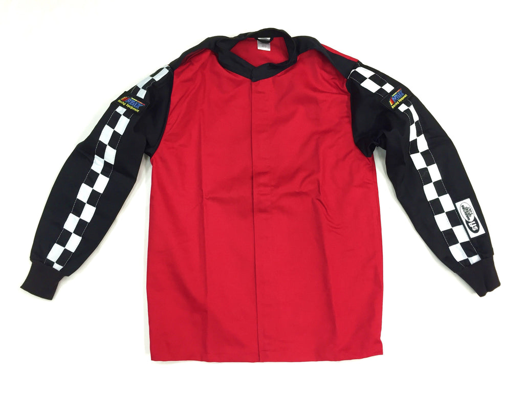 Fire Suit Jacket - 2 Layer SFI-5 Size (2) Medium Red & Black with Checkerboard Stripes Peak Racing Qualifier