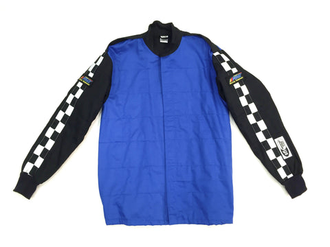 Fire Suit Jacket - 2 Layer SFI-5 Size (1) Small Blue & Black with Checkerboard Stripes Peak Racing Qualifier