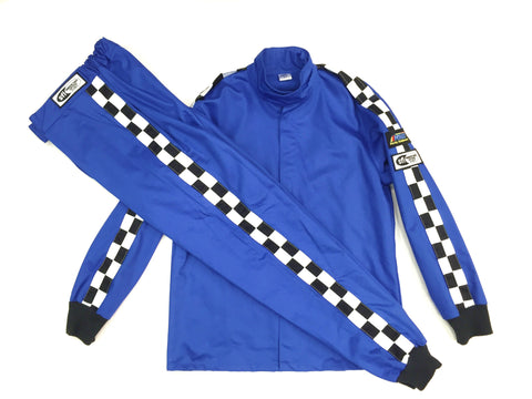 Fire Suit - 1 Layer 2 Pc Size (1) Small SFI-1 Blue Jacket and Blue Pants Peak Racing Qualifier