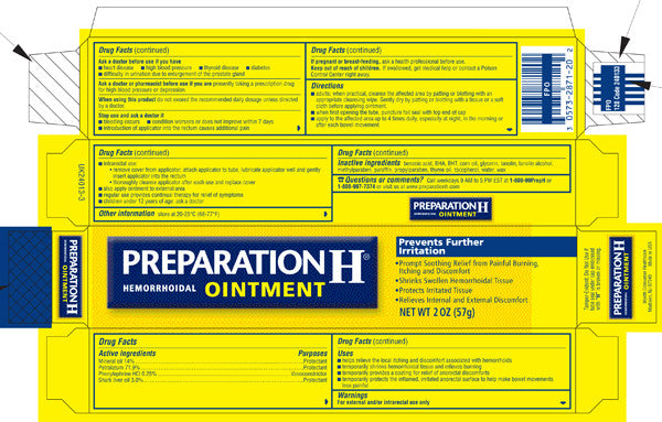 preparation h ointment ingredients