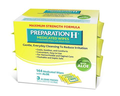 Preparation h medicated wipes with aloe