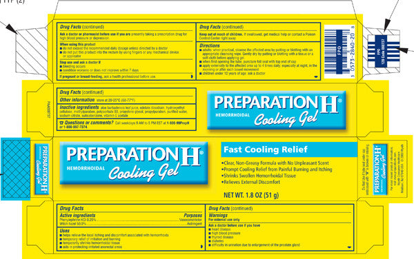 prep h cooling gel ingredient panel