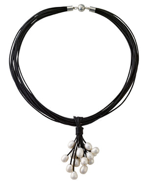 Leather and hanging pearl necklace