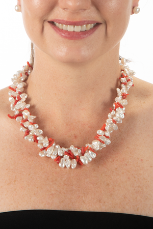 Keshi pearl and coral bead necklace