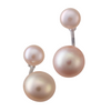 Signature double stud pearl earrings in white or black