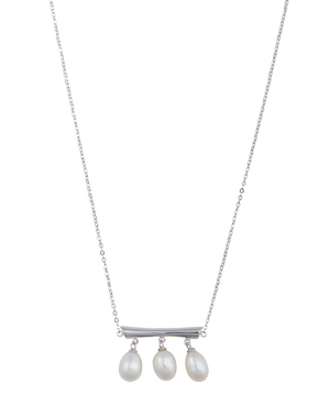 Minimalist three pearl silver bar necklace