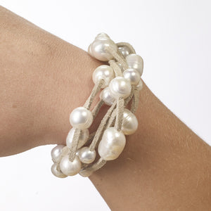 Six-strand suede and pearl bracelet