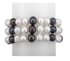 Three-strand black and white pearl bracelet