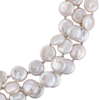 Three-strand coin pearl necklace