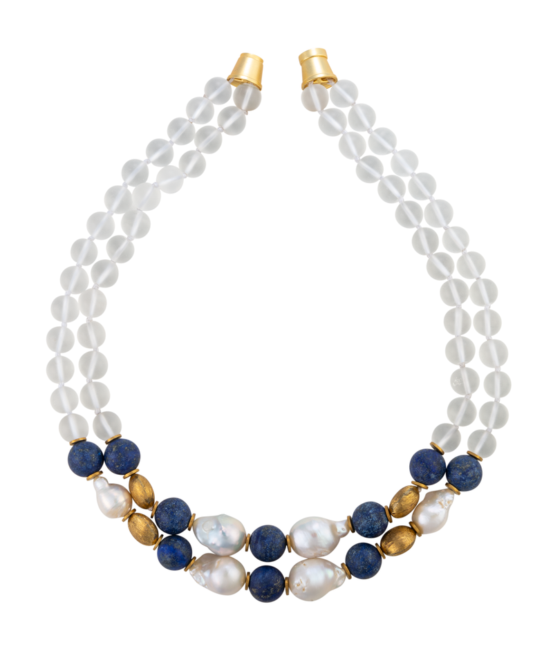 Blue lapis, brass, and glass biwa pearl necklace