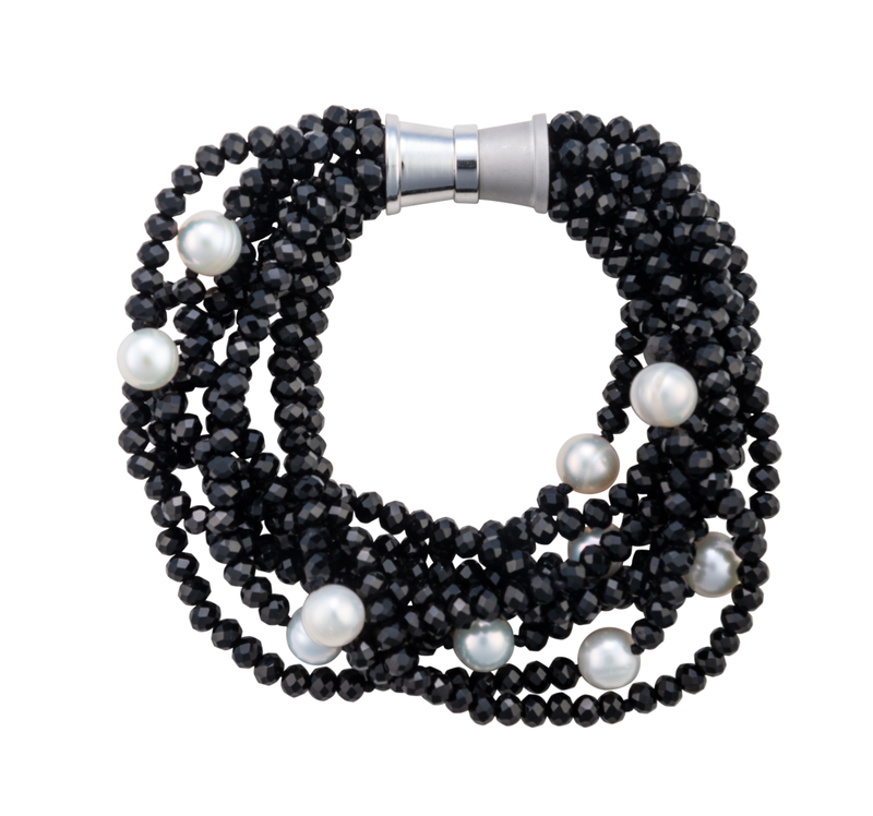 Nine-strand black crystal and pearl bracelet