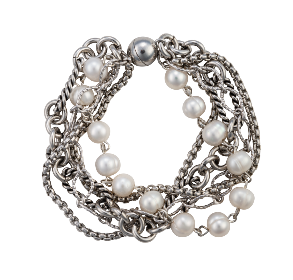 Five-strand chain and pearl statement bracelet