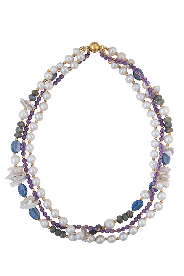 Amethyst, lapis, labradorite, and pearl necklace