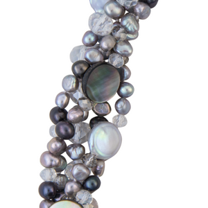 Crystal and freshwater pearl chunky necklace